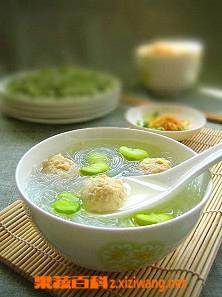 果蔬百科蚕豆肉圆汤